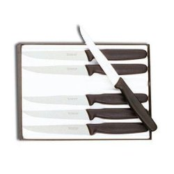 Victorinox Cutlery 6-Piece 4-1/2-Inch Wavy Edge With Pointed Tip Steak Knife Set, Black
