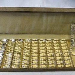Gorgeous Rare Compl. Set 12 Antique Vintage Cut Crystal Knife Rests Original Box