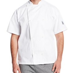 Chef Revival J005 Poly Cotton Knife And Steel Short Sleeve Chef Jacket With White Chef Logo Button, Small, White