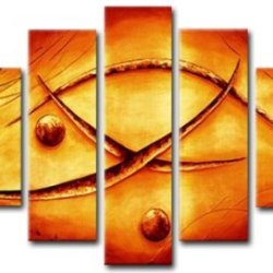 Sangu 100% Hand-Painted 5-Piece Precious Links Abstract Oil Painting Gift Canvas Wall Art For Home Decoration