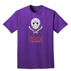 Scary Mask With Machete - Tgif Adult Dark T-Shirt - Purple - Small