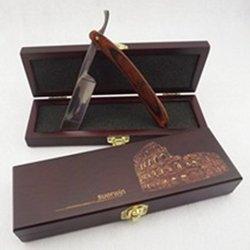 Pk® Straight Edge Razor Set Middle Wooden Box + Color Wood Stainless Steel Shaving Knife Barber Vintage