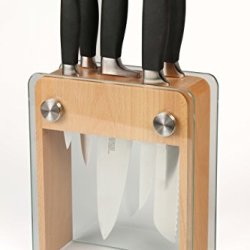 Mercer Culinary M20050 Genesis Forged Knife Block Set, Wood Block With Tempered Glass