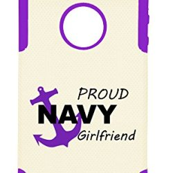 Iphone 4/4S Proud Navy Girlfriend Plastic & Silicone Case - (Purple)