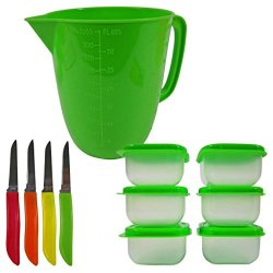 Bright Colored Kitchen Accessory Set Includes 3.5 Cup Measuring Cup, 6 Mini Storage Containers And 4 Stainless Steel Paring Knives