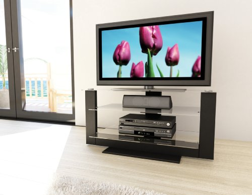 Image of Sonax Atlantic 32-52 Inch Flat Panel TV Stand in Black Lacquer Finish (AT-1420)