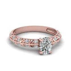 Fascinating Diamonds Engagement Ring Knife Edge Pave Set 0.90 Ct Cushion & Round Cut Diamond Si1-D Gia