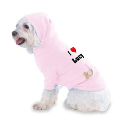 I Love/Heart Lucy Hooded (Hoody) T-Shirt With Pocket For Your Dog Or Cat Size Small Lt Pink