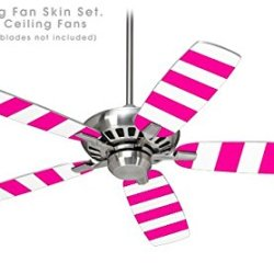 Psycho Stripes Hot Pink And White - Ceiling Fan Skin Kit Fits Most 42 Inch Fans (Fan And Blades Sold Separately)