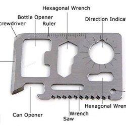 11 In 1 Stainless Steel Emergency Survival Card - Multi-Purpose Tool 4Cm X 6Cm