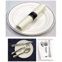 200 Sets Reflections Plastic Silverware And 200 Linen-Like Napkins, Cutlery Combo Of 600 Pieces Includes 200 Forks, 200 Knives, 200 Spoons