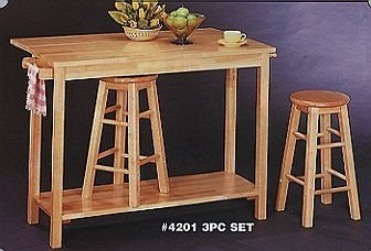 Image of Natural Finish Drop Leaf Style Wood Breakfast Table &2 Bar Stools/Stool Set (VF_4201)