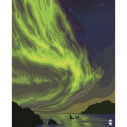 Yellowknife, Nw Territories, Canada, Northern Lights And Orca Art Poster Print, 18X24