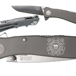 Uscg Coast Guard Logo Emblem Custom Engraved Sog Twitch Ii Twi-8 Assisted Folding Pocket Knife By Ndz Performance