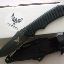 "Freeman Outdoor Gear 451 4"" Fixed Blade Knife Black Blade Black Handle"