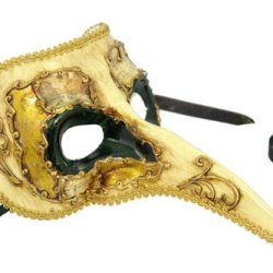 Decor Paper-Mache Ornate Long Noses Masquerade Mask - Dark Green W/ Gold