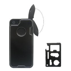 Pin Yuan(Tm) Fashion Design Metal Red Skin Cover With Knife Case For Iphone 4/4S + 1 Camping Multifunctional Knife (Black)