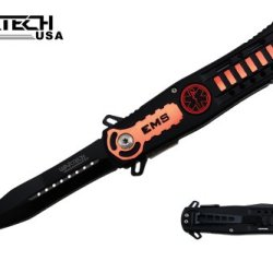 "8"" Assisted Open Ems Tactical Pocket Knife Orange Handle"