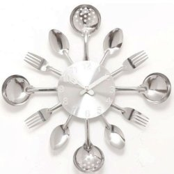 Quartz Mute Wall Clock Knife Fork Spoon Originality Clock Kitchen Restaurant The Wall Decoration (Silver)