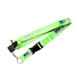 R3-Qak2-903M - Seattle Seahawks Green Clip Lanyard Keychain Id Ticket Nfl