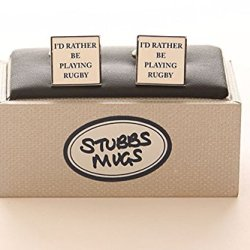 Stubbs Mugs I'D Rather Be Playing Rugby Cufflinks Boxed Set