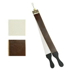 24-Inch Leather Barber'S Razor Knife Strop Buffalo Hide - Dual Straps Swivel Clip