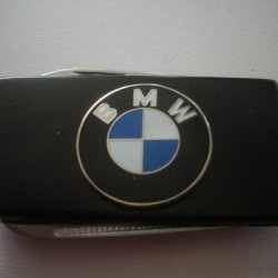 Bmw Black Stainless Steel Money Clip With Knife & Nailfile In Body Of Clip