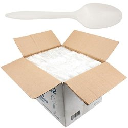 1,000Ct White Plastic Spoons Individually Wrapped For Restaurants Parties Events