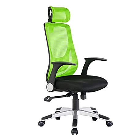 Features Ergonomic Mesh Office Chair High-Back Design Contoured and breathable green mesh back Foam padded Upholstered Seat Built-In Lumbar Support 360° Swivel Seat Pneumatic Seat Height Adjustment Reclining back spin plastic armrest(back and ...