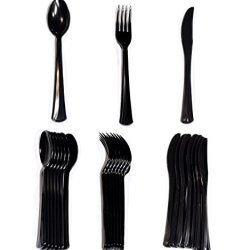 Pack Of 48 Extra Heavy Duty Plastic Disposable Cutlery Set, Full Size Spoons, Forks, Knives (Black)