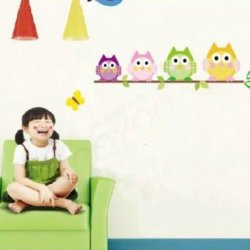 [Top-Me]-Owl Tree Branch Wall Mural Decals Baby Girl Nursery Kids Room Sticker Home Decor Tm1009