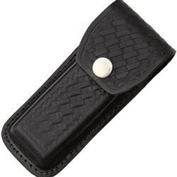 Sheath Folding Knife Sheath, Black Leather W/Embossed Basketweave,4.5-5.25In Closed Sh1144