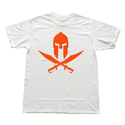 Men Spartan Two Knives Custom Cool White T Shirt By Rrg2G