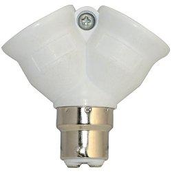 B22 To 2 X E27 Bayonet Light Bulb Lamp Converter Adapter Splitter Screw Socket