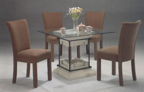 Image of 5pc Faux Stone Glass Top Dining Table & Brown Parson Chairs Set (VF_dinset-7065-4550BRN)