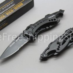 Rescue Knife Serrated Blade Bottle Can Opener Black Police Knives