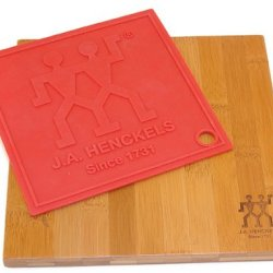 J.A. Henckels 9-By-9-Inch Cutting Board With Silicone Trivet/Pot Holder