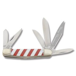 Rough Rider Knives 1306 Candy Cane Six Blade Stockman Pocket Knife With White Pearl & Red Delrin Striped Handles