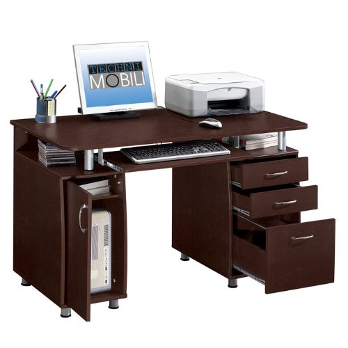 Picture of Comfortable Double Pedestal Storage Computer Desk (Chocolate) (30