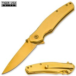 Tiger-Usa Agnu - Gold Anodized Coating Trigger-Assisted Knife