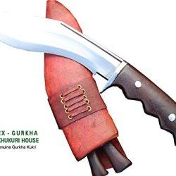 """Hand Forged Blade Khukri - 8"""" Blade Gurkha Mini Afghan Issue Brown Sheath Gripper Blocker Handle Kukri Or Khukuris By Ex Gurkha Khukuri House In Nepal"""
