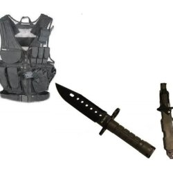 Ultimate Arms Gear Stealth Black Lightweight Edition Tactical Scenario Military-Hunting Assault Vest W/ Right Handed Quick Draw Pistol Holster + Od Olive Drab Green Lightweight Cut Stealth Black M9 M-9 Military Survival Blade Bayonet Knife With Tactical S