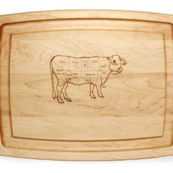 J.K. Adams Maple Wood Farmhouse Carving Board With Laser Engraved Cow Design, 20-Inches By 14-Inches