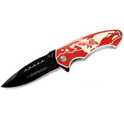 "New 8"" Defender Folding Spring Assisted Knife With Belt Clip - Red Eagle"