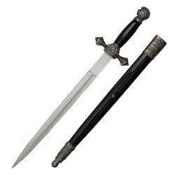 23.5 Inch Scrimshaw Designed Dagger With Black Scabbard H-5913