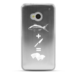 [Geeks Designer Line] Fish + Knife = Sushi Htc One (M7) Plastic Case Cover [Anti Slip] Supports Premium High Definition Anti-Scratch Screen Protector; Durable Fashion Snap On Hard Case; Coolest Ultra Slim Case Cover For One (M7) Supports Htc (M7) Devices