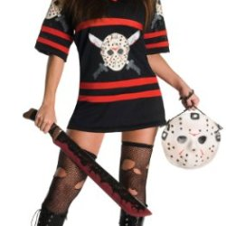 Women'S Costume: Miss Voorhees- Medium *** Product Description: Sexy Twist On The Friday The 13Th Movies. Black And Red Dress With Jason Vorhees Hockey Mask Graphic On Front. Includes Hockey Mask Handbag. Machete, Stockings And Boots Not Included ***