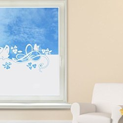 Privacy Film / Window Tattoo / Window Sticker/ For Girls / With Butterfly And Flower Design - 110X57Cm