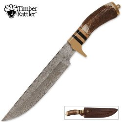 Timber Wolf Genuine Stag Fileworked Damascus Bowie & Leather Sheath