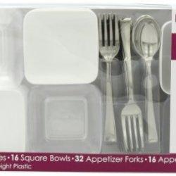Mozaik Appetizer Set, White (32 Plates, 16 Bowls, 32 Forks, 16 Spoons), 96-Piece Set